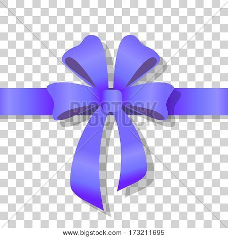 Blue holiday bow on transparent background. Holiday bow with ribbon on transparency. Gift knot of ribbon in flat style. Overwhelming bow decorative element. Vector cartoon illustration. Classical bow