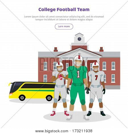 Colleage football team. High school on the background. American football. Football players with ball in hands in white and gree uniform. Sport team game. Cartoon icons of football players. Vector