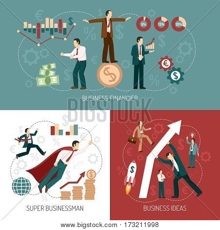 Financiers investors for successful startup business ideas concept flat icons and banner combination poster isolated vector illustration