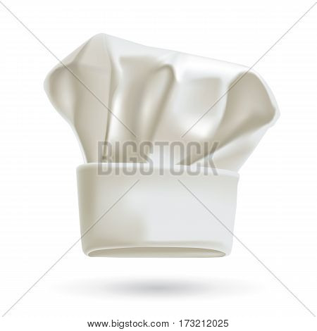 White chef hat. Photorealistic vector illustration of chefs hat