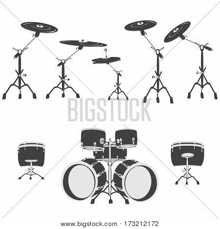 Black and white Drum set vector illustration. Drums isolated on white background