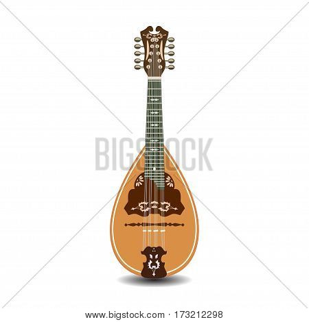 Vector illustration of mandolin isolated on white background. Resonator musical instrument. Folk music mandolin.