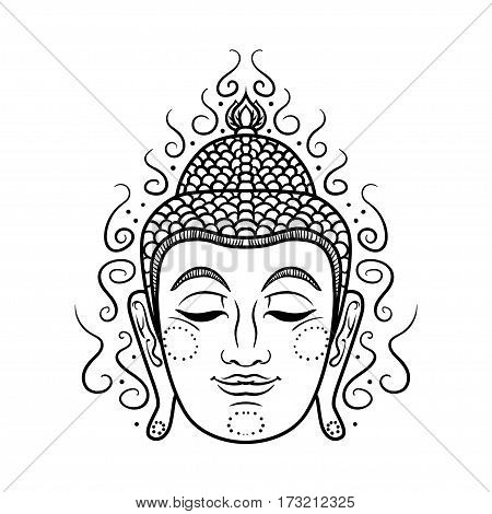 Buddha face isolated on white. Esoteric vintage illustration. Indian, Buddhism, spiritual art. Hippie tattoo, spirituality, Thai god, yoga zen . Coloring book pages for adults.