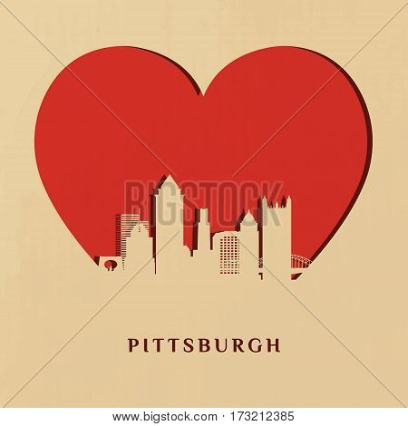 Paper-cut silhouette of Pittsburgh skyline on the Big heart. Vector illustration.