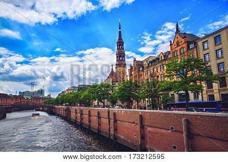 HAMBURG GERMANY - JUNE 10: Historic St. Catherine's Church one of the five principal Lutheran churches in 2012
