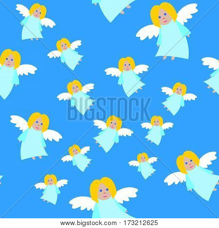 New Year big angels seamless pattern. Light blue long dress. Fair hair and blue eyes. Small flying girl. White straightened wings. Cartoon style. Flat design. Wallpaper design endless texture. Vector