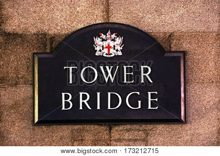 London Street Sign Tower Bridge Borough of Tower Hamlets
