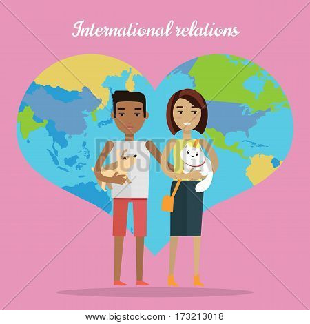 International relations. Afro american man and caucasian woman. Couple family with different skin colors. Racial diversity concept. Boy with dog, girl with cat. Map of world in shape of heart. Vector