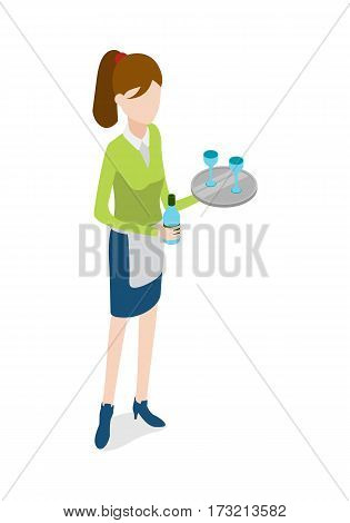 Restaurant. Isolated waitress in blue uniform holding metal tray in one hand and bottle of beverage in another. Full length portrait of standing waitress. Two glasses on salver. Flat design. Vector