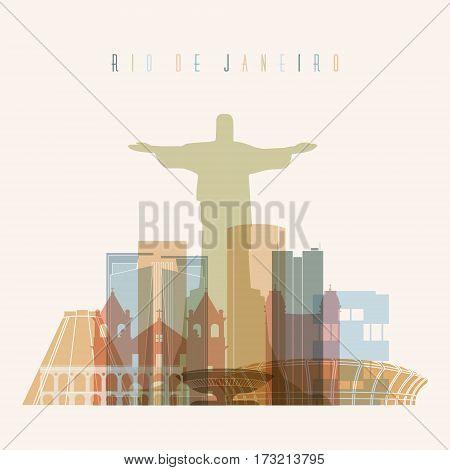 Rio de Janeiro Brazil city skyline vector silhouette illustration. Transparency style poster.