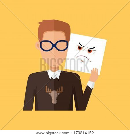 Man character avatar vector. Flat style. Male portrait with anger, wrath, insult, skepticism, contempt, aggression, envy,  emotional mask. Illustration for identity in Internet mood concepts icons