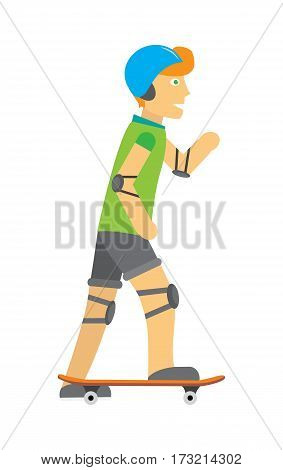 Boy wearing protective gear while skating. Happy cartoon skateboarder. Guy in blue helmet elbow pads and knee pads skateboarding. Healthy way of life and sport concept. Vector illustration.