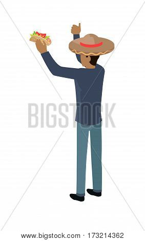Shop seller in big sombrero hat isolated. Street food vendor. Mexican food salesman. Food restaurant worker. Human market seller. Shop worker, back view. Delivery man icon. Vector illustration