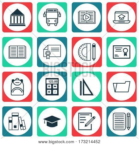 Set Of 16 Education Icons. Includes Education Tools, Document Case, Transport Vehicle And Other Symbols. Beautiful Design Elements.