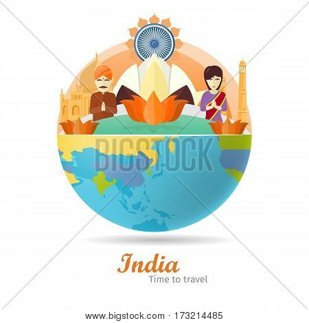 India tourism poster design with attractions on the background of the globe. Time to travel. India landmark. India travel poster design in flat. Travel composition with famous landmarks.