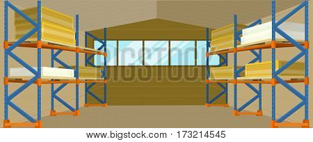 Warehouse interior banner. Warehouse interior, logisti and factory building interior, business delivery, storage cargo illustration. Logistics and transportation of cargo