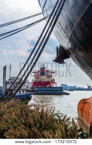 Cargo container ship at harbor,business and industry concept.