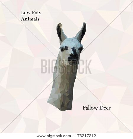 Head of fallow deer portrait from low poly. Vector polygonal illustration. Collection of triangle animals