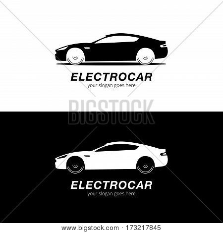 Auto Car logo vector silhouette. Automotive company logotype vector design concept with sports car silhouette - Black-White.
