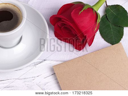 Red Rose And And Envelope For Valentines Day Womens Day Greeting Card.