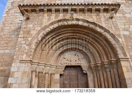 Detail of Romanesque portal of the church of San Miguel or San Valero (13th century) Daroca. Zaragoza province Aragon Spain (13th century)