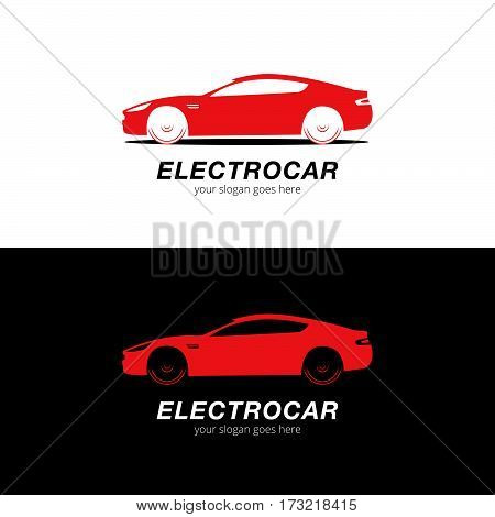 Car logo vector silhouette. Automotive company logotype vector design concept with sports car silhouette - Red. Logo for auto service and repair. Car logo. Isolated auto theme logo.