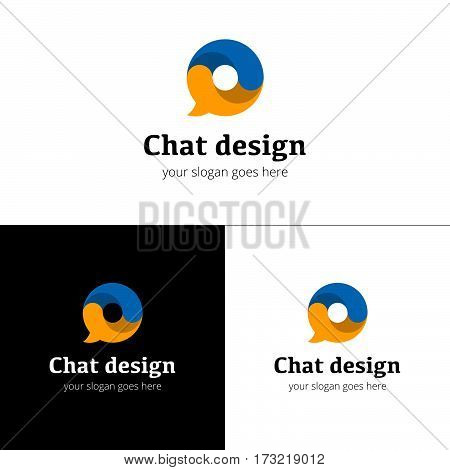 Chat logo icon. Vector logo chat design template with trend color on white-black background. Abstract communication vector logotype.