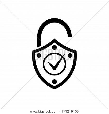 Lock Icon Black And White Icon. Internet Technology, Protect