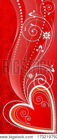 Red abstract background with heart symbols and floral ornaments. Vector illustration