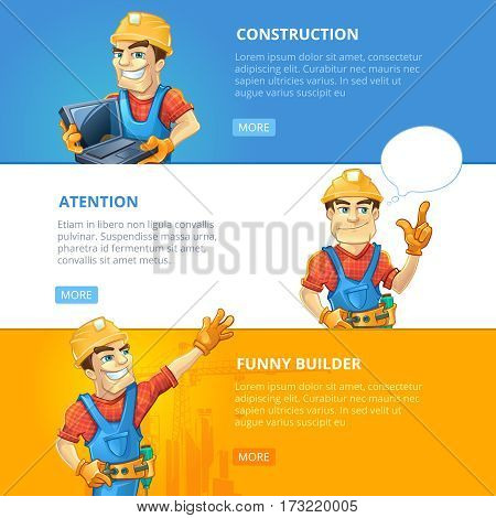 vector horisontal banners set of builders or handymans in action poses with equipment and accessories.