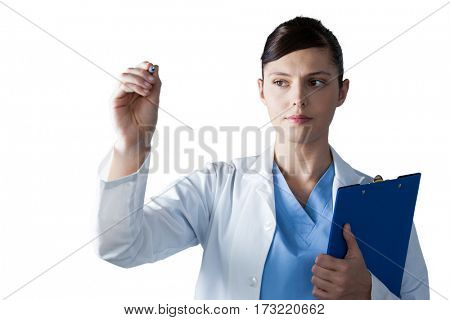 Female scientist writing on board against white background