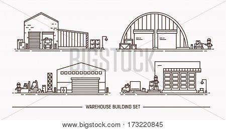 Set of warehouse buildings of different shape with freight transport. Isometric. Contour illustration. Lineart.