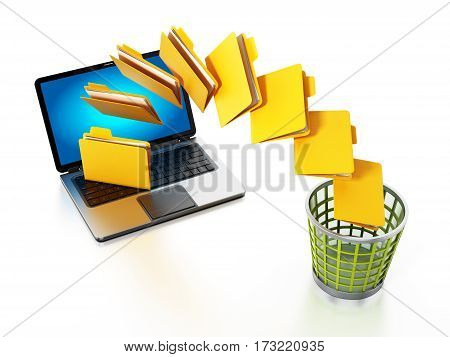 Folders moving from the notebook computer to trash bin. 3D illustration.