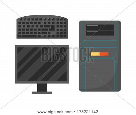 Desktop computer technology isolated icon telecommunication equipment metal pc monitor frame modern office network electronic device space vector illustration. System unit communication tech.