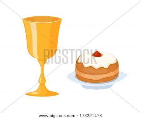 Wine cup used for jewish kiddush shabbat drink judaica metal symbol and kiddush food hebrew decorative festival sparkle service vector illustration. Holiday religion shiny golden goblet.