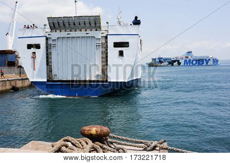Ferry Leaving The Port Of Piombino
