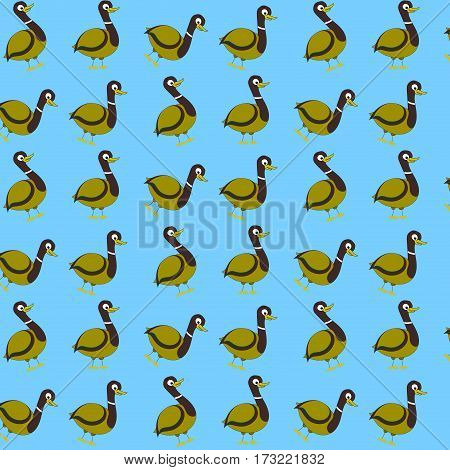 Seamless pattern with wild duck. Adorable duck background vector illustration