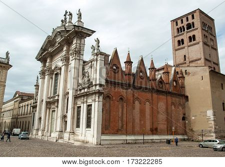 MANTUA ITALY - MAY 2 2016: Cathedral of Saint Peter the Apostle in Mantua Lombardy. Italy