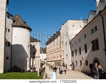 SALZBURG AUSTRIA - APRIL 29 2016: Fortress Hohensalzburg beautiful medieval castle in Salzburg Austria