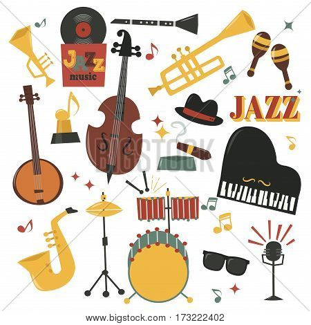 Musical instruments decorative icons with guitar drums headphones and jazz rock concert note silhouette audio piano saxophone sound vector illustration. Entertainment festival music style