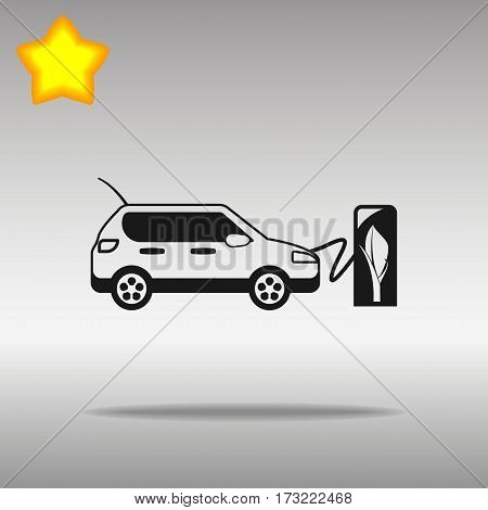 black electric vehicle charging station Icon button logo symbol concept high quality on the gray background