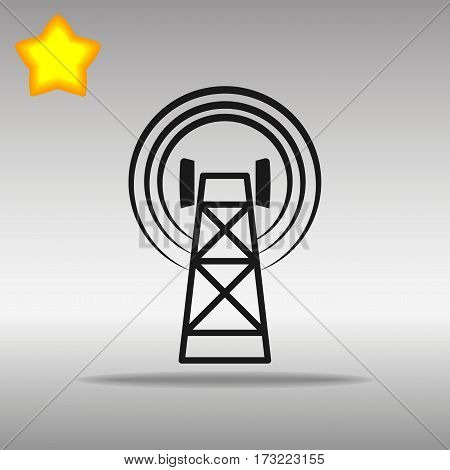 black Cell Phone Tower Icon button logo symbol concept high quality on the gray background