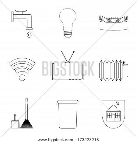 Domestic services icon lineart. Wireless and heating internet and energy. Vector illustration