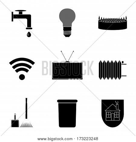 Utilities icon set black silhouette. Internet sign and monochrome garbage symbol. Vector illustration