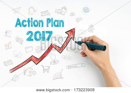 Hand with marker writing - Action Plan 2017 concept.