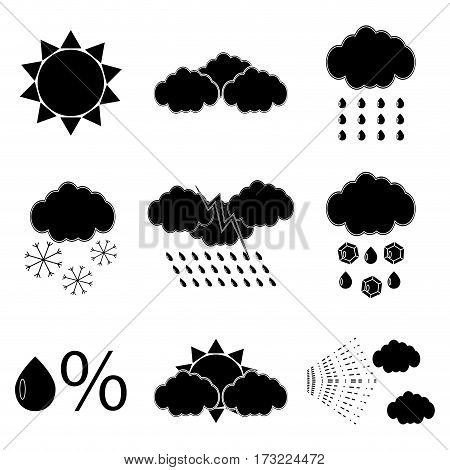 Black silhouette meteorology icons set. Temperature warm icon nature meteorology web button vector illustration