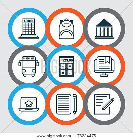 Set Of 9 Education Icons. Includes Haversack, Academy, Distance Learning And Other Symbols. Beautiful Design Elements.