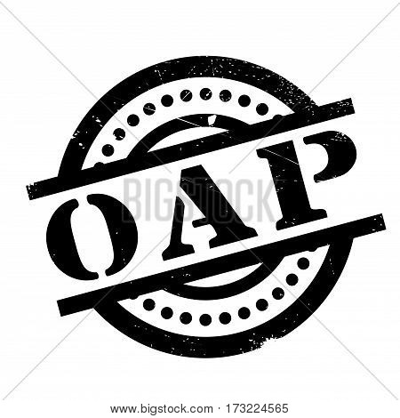 Oap Office Of Atoms For Peace rubber stamp. Grunge design with dust scratches. Effects can be easily removed for a clean, crisp look. Color is easily changed.