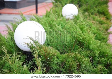 House garden glowing spheres light. Exterior House lighting. Outdoor Lighting & Exterior Light Fixtures.