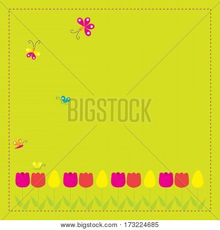 Greeting card with flowers for your design on
